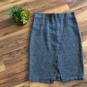 Loft Grey Stretchy Ribbed Pencil Skirt